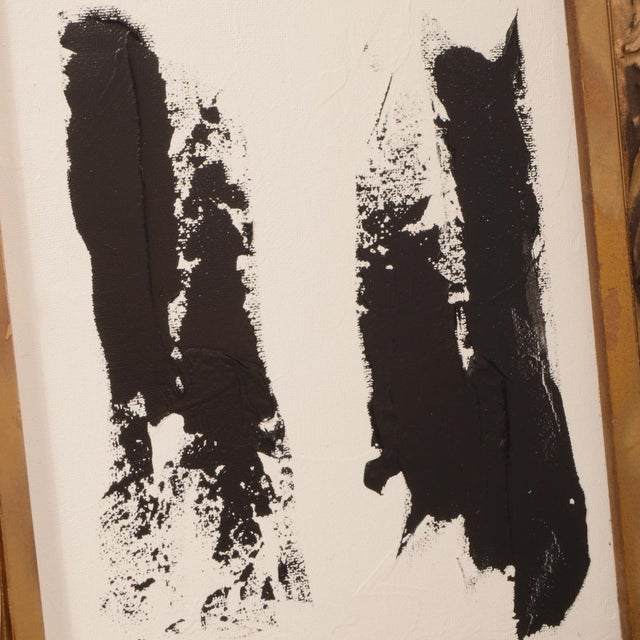 Abstract Original Black and White Abstract Painting in Vintage Frame For Sale - Image 3 of 8