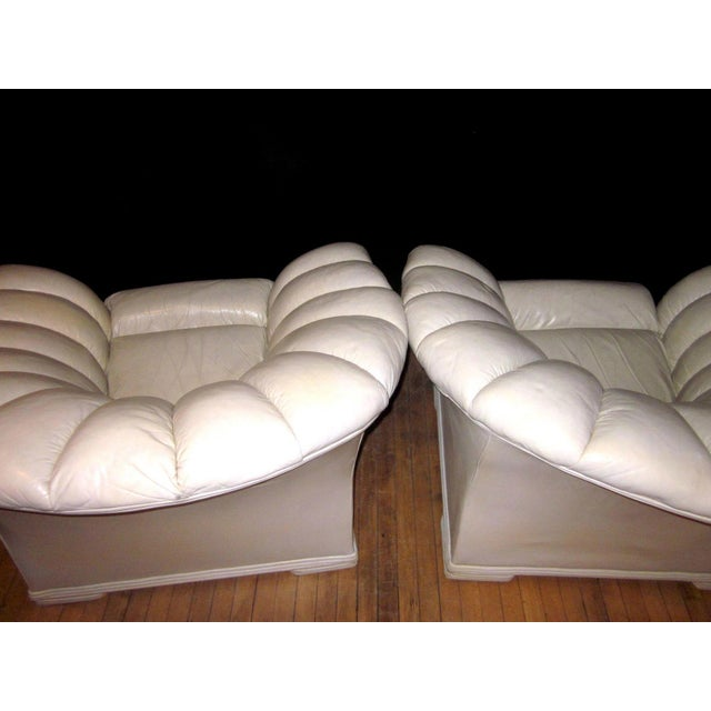 Leather 1930s Vintage French Art Deco Scalloped Back Clamshell Leather Lounge Chair- a Pair For Sale - Image 7 of 11