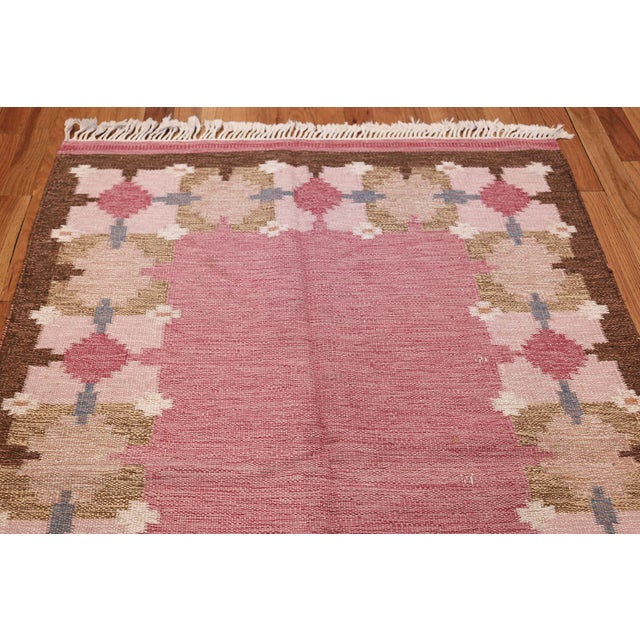 Textile Vintage Swedish Kilim Rug by Gitt Grannsjo Carlsson - 4′7″ × 6′7″ For Sale - Image 7 of 10