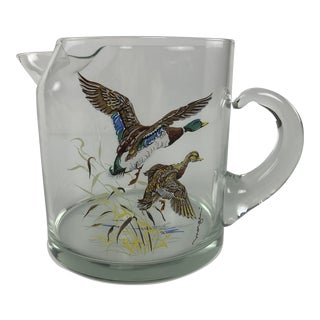 Vintage 1970s Morgan Glassware Bar Pitcher With Mallards For Sale
