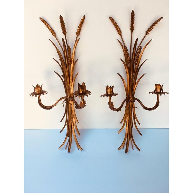 Hollywood Regency 1960s Hollywood Regency Gold Iron Sconces - a Pair For Sale - Image 3 of 3