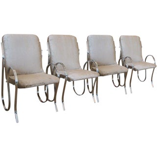 1980s Modern Milo Baughman Style Sculptural Chrome Framed Chairs - Set of 4 For Sale