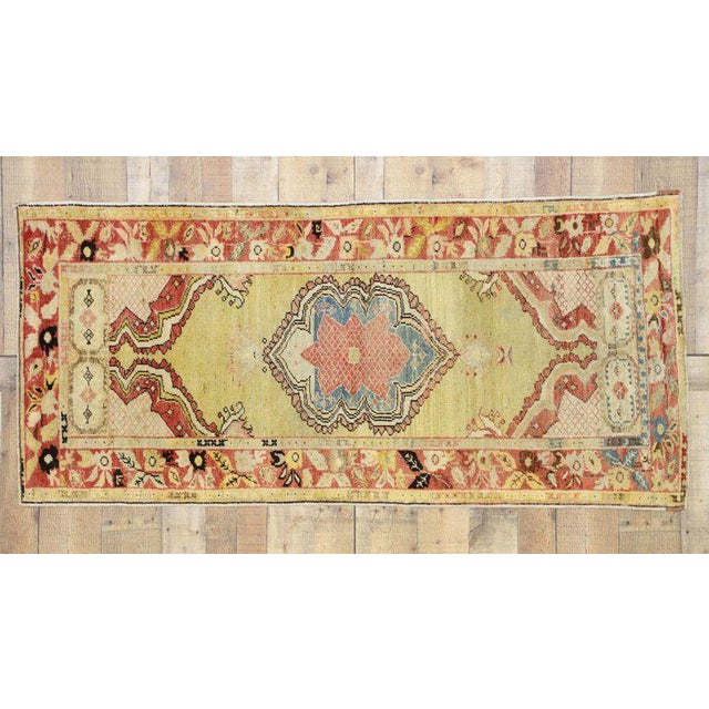 Mid 20th Century 20th Century Turkish Oushak Accent Rug For Sale - Image 5 of 8