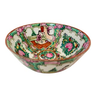 Vintage Chinoiserie Hand Painted Porcelain Famille Rose Medallion Bowl For Sale