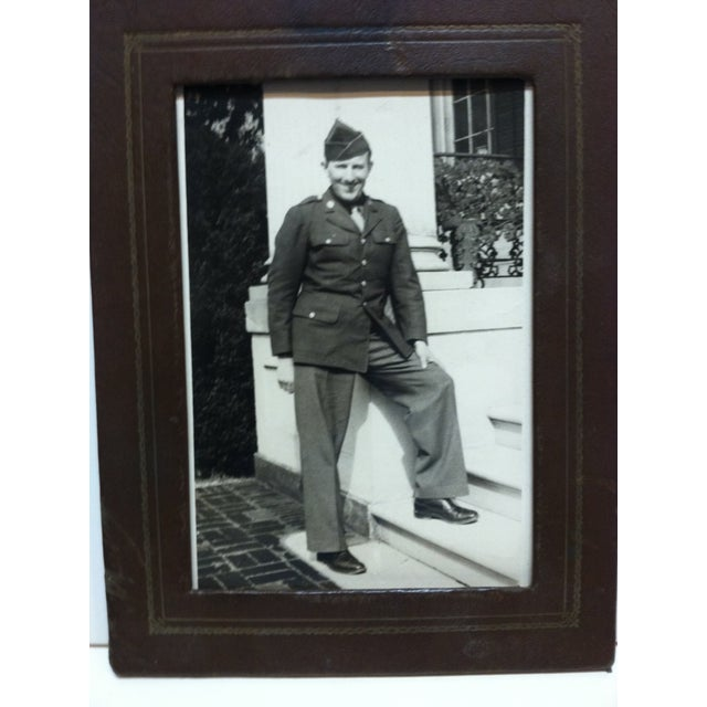 """This is a Vintage Black and White Photograph that is simply titled """"Army Recruit"""". The Photograph comes inside a frame and..."""