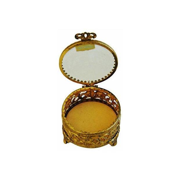 Hollywood Regency 1960s Vintage 24k Gold-Plated Filigree Trinket Box For Sale - Image 3 of 6