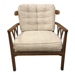 Vintage Wood Armchair in Caroline Cecil Hannu White/Natural For Sale