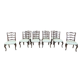 Set of 10 Georgian Carved Mahogany Ribbon Back Dining Chairs For Sale