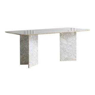 Gray and White Marble Dining Table With Triangular Bases For Sale