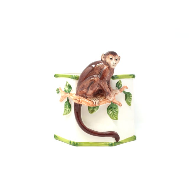 Hollywood Regency Octagonal Ceramic Planter With Monkey and Bamboo - Made in Italy For Sale - Image 3 of 11