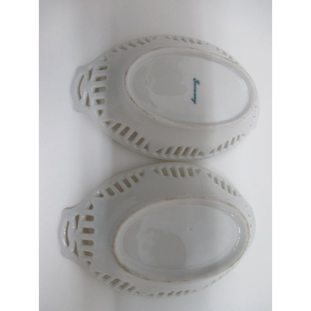 Traditional Vintage Petite Bone China German Candy Dishes With Pierced Rims For Sale - Image 3 of 4