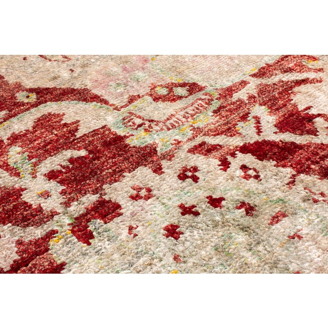 Traditional Hand Knotted Red and Beige Oushak For Sale In New York - Image 6 of 8