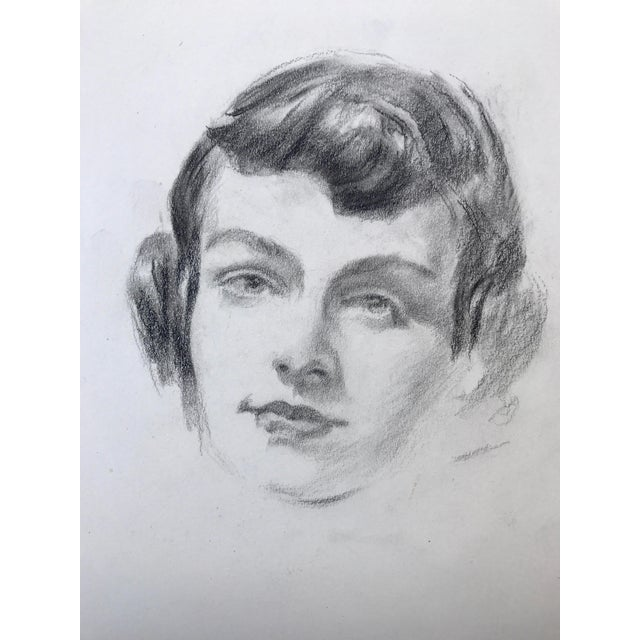"Vintage original 1950s mid century pencil drawing portrait of a young woman. Matted unframed image size 7.5"" x 9.5""..."