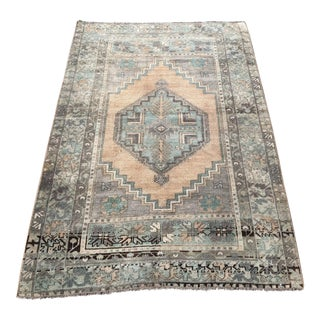 Turkish Tribal Floor Faded Oushak Rug - 3′8″ × 5′5″ For Sale
