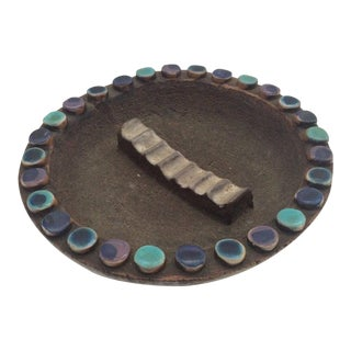Vintage Bitossi Mid-Century Modern Black & Blue Ceramic Dish For Sale