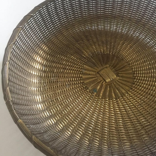 Vintage 1940's Brass Hand Woven Large Round Rustic Metal Basket - Image 5 of 11