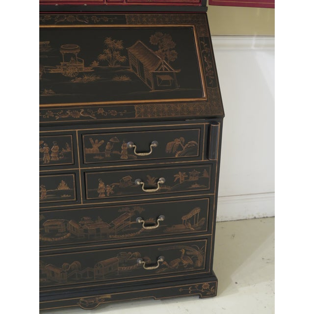 Paint Chinoiserie Decorated Secretary Desk With Fitted Interior For Sale - Image 7 of 13