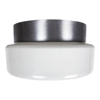 Lightolier Stainless Steel and Glass Flush Mount Ceiling Pendant For Sale