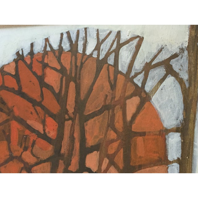 Vintage 1960's Oil Landscape Painting Winter Trees For Sale - Image 9 of 9