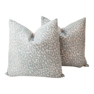 Light Blue and Cream Leopard Pillows, a Pair For Sale