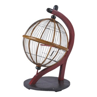 Vintage Bauhaus Style Wood and Wire Globe Birdcage For Sale