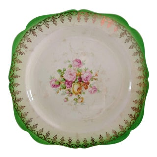 Paden City Green Edged Gold Swags Floral Cake Plate