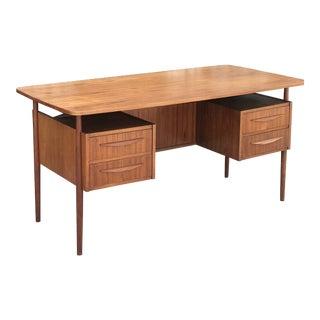 Mid Century Danish Teak Desk by Gunnar Nielsen Tibergaard