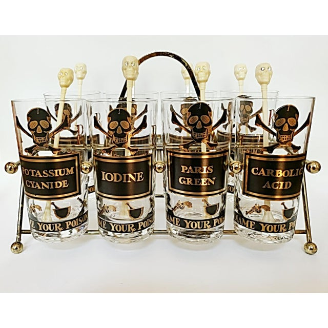 """Georges Briard """"Name Your Poison Glasses"""" Skull and Crossbones Glasses - Set of 8 For Sale - Image 13 of 13"""