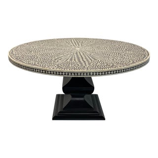 Boho Chic Horchow Bone Inlay Pedestal Round Table For Sale