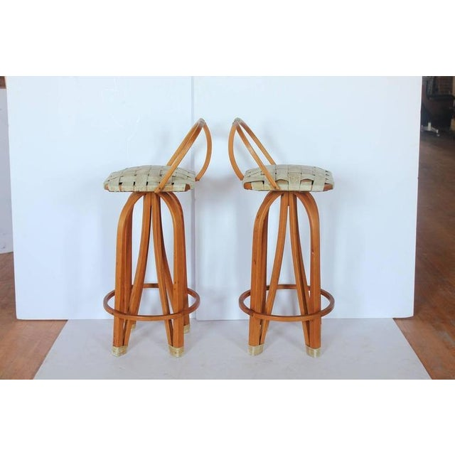 Stylish Modern Bentwood & Leather Bar Stools. These pieces would look great in a Danish Modern setting.