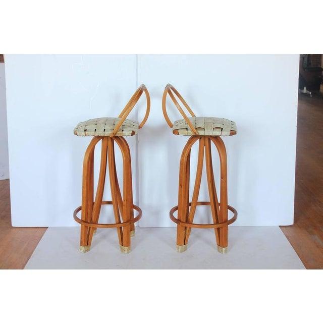 Stylish Modern Bentwood & Leather Bar Stools - Image 2 of 4
