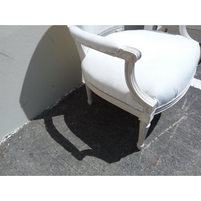 French Style White Arm Chairs - A Pair For Sale - Image 10 of 11