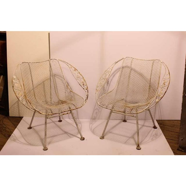Rustic 1950's Vintage Russell Woodard Wrought Iron Garden Armchairs- Set of 4 For Sale - Image 3 of 3