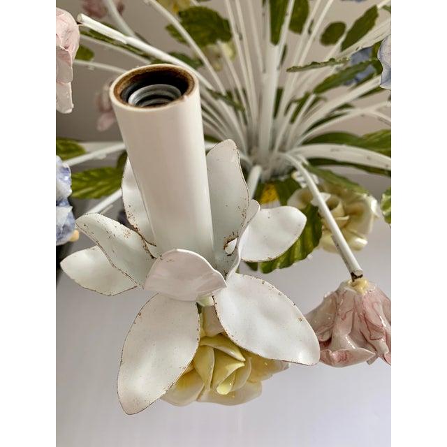 Vintage Ca 1950s Italian Tole 6 Arms Chandelier & Porcelain Rosebuds Flowers For Sale - Image 10 of 13