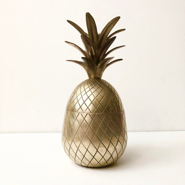 """Vintage brass pineapple container. In good vintage condition with light patina normal with age. Marked on bottom """"Made in..."""