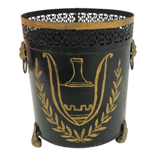 Vintage Tole Planter with Hand Painted Gold Accents and Lion's Head Details For Sale