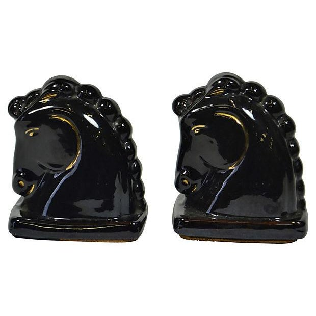 Black and Gold Ceramic Horses - Pair - Image 2 of 2
