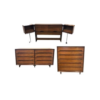 Vintage Mid-Century Milo Baughman for Drexel Perspective Bedroom Set - 3 Pieces For Sale