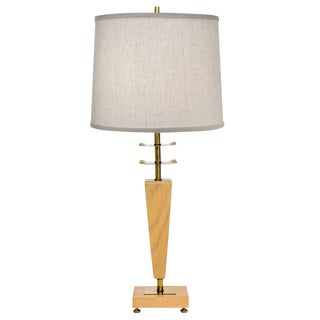 Sculptural Brass & Wood Table Lamp For Sale