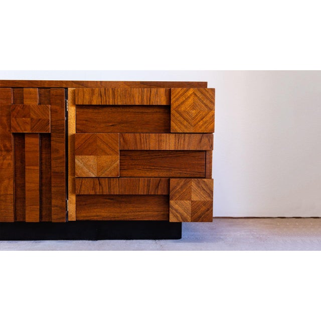 Wood Mid Century Modern Lane Mosaic Brutalist Dresser For Sale - Image 7 of 8