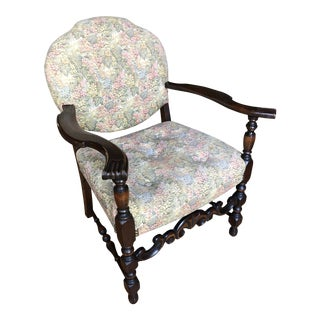 Antique Early 1900's French Louis XIII Style Tapestry Upholstered Walnut Armchair For Sale