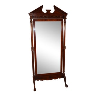 Vintage Chippendale Style Mahogany Claw Foot Large Swivel Mirror For Sale