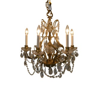 French Louis XV Style Vintage Brass & Chrystal Chandelier For Sale