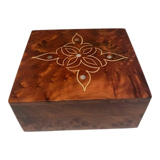 Vintage Burl Wood & Mother of Pearl Inlay Storage Box For Sale