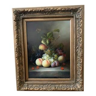 Antique Fruit Still Life Original Artwork in Gold Ornate Frame For Sale