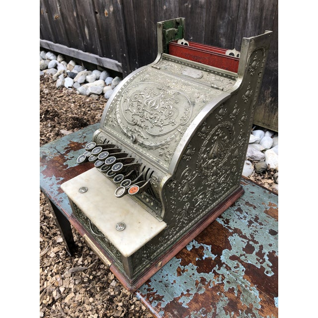 Victorian Nickel Coated Brass Antique Cash Register For Sale - Image 3 of 13
