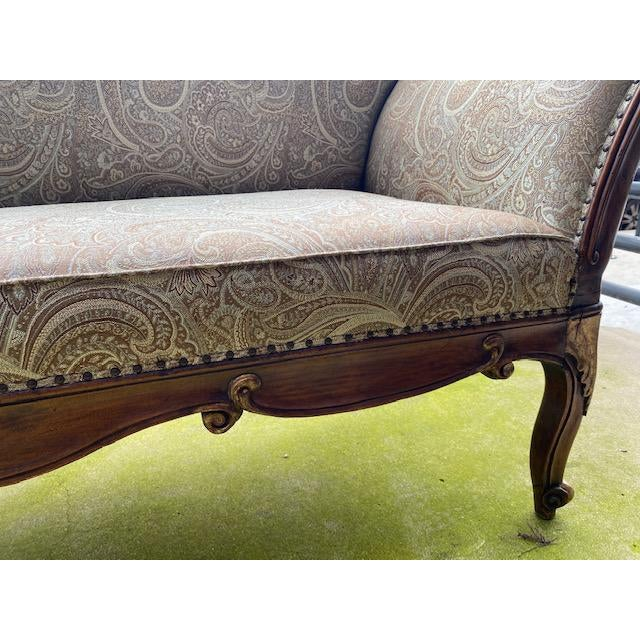 Early 19th Century French Walnut Settee With Guilt Accent
