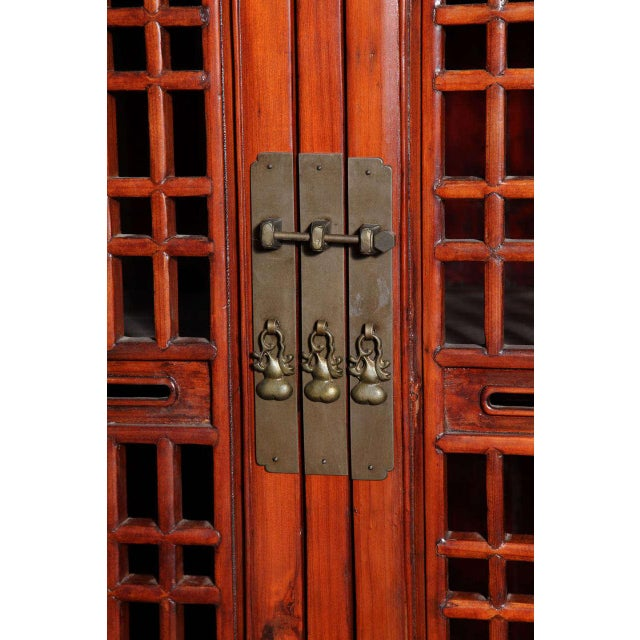 Tall 19th Century Chinese Kitchen Cabinet With Fretwork Upper Doors For Sale - Image 4 of 11