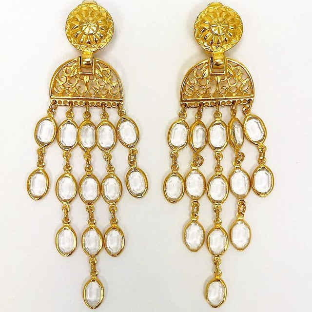 1990s Balmain Gold & Crystal Shoulder Duster Earrings For Sale - Image 5 of 5