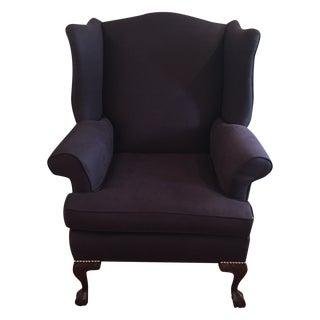 Navy Linen Wing Chair